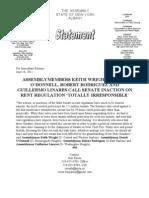 Statement on State Senate Inaction on Rent Regulation