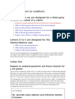 General Debt Advice - Sample Letters to Creditors