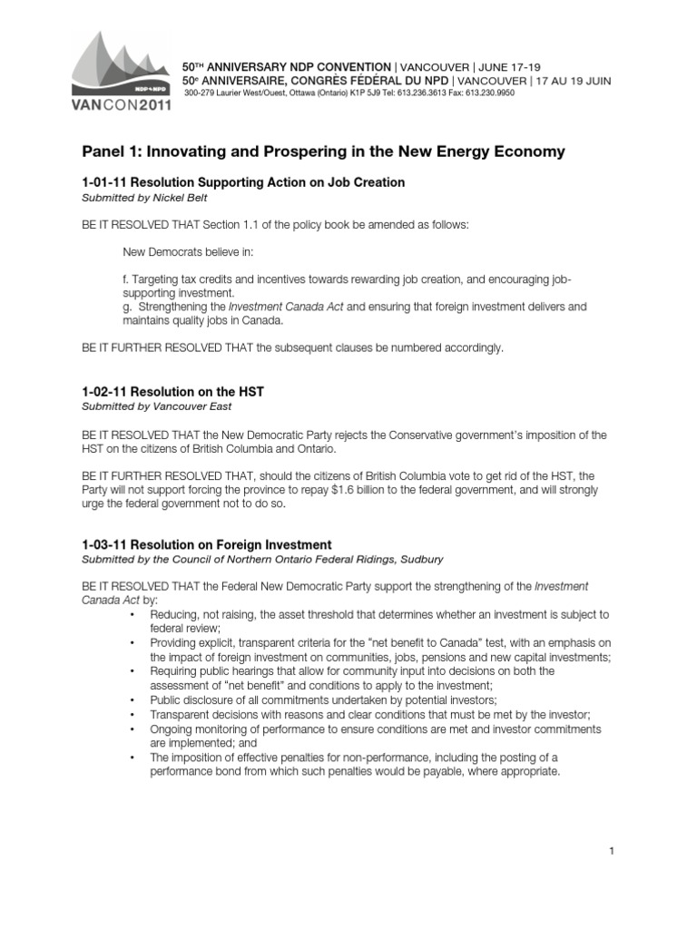 First 10 Resolutions Copy | Resolution (Debate) | Canada