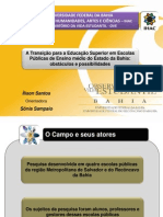 Comunicação Científica II Encontro de São Lázaro FFCH - UFBA