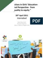 Best Practises in Girls Education Regional by Dr. Baela Raza Jamil