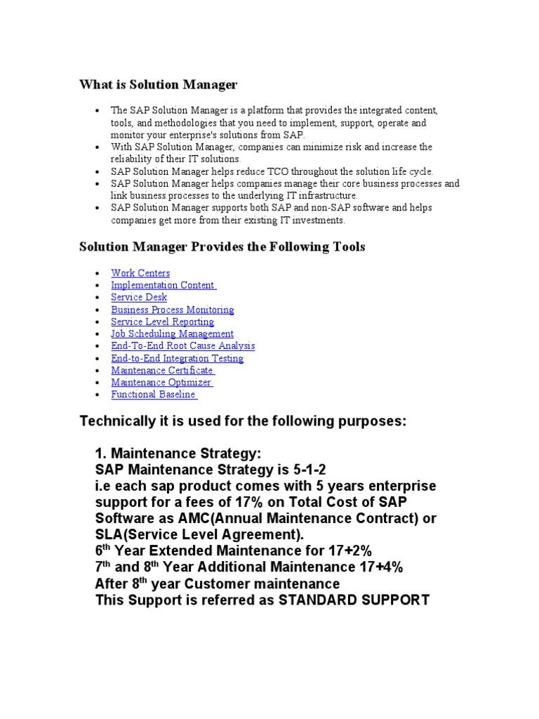 Solution Manager Sap Se Service Level Agreement