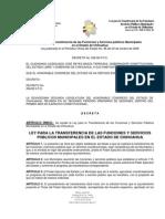 LEY PARA LA TRANSFERENCIA DE LAS FUNCIONES SERVICIOS PÚBLICOS MUNICIPALES EN EL ESTADO DE CHIHUAHUA