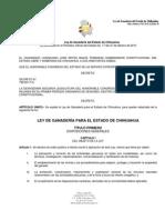 LEY DE GANADERÍA DEL ESTADO DE CHIHUAHUA