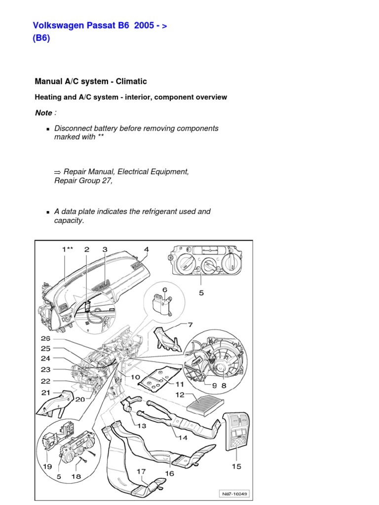 b6 87 eng hvac air conditioning rh scribd com 2001 Volkswagen Passat 2002 Volkswagen Passat