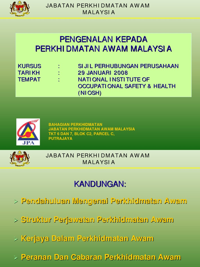 Fungsi Jabatan Perkhidmatan Awam Malaysia Termasuk