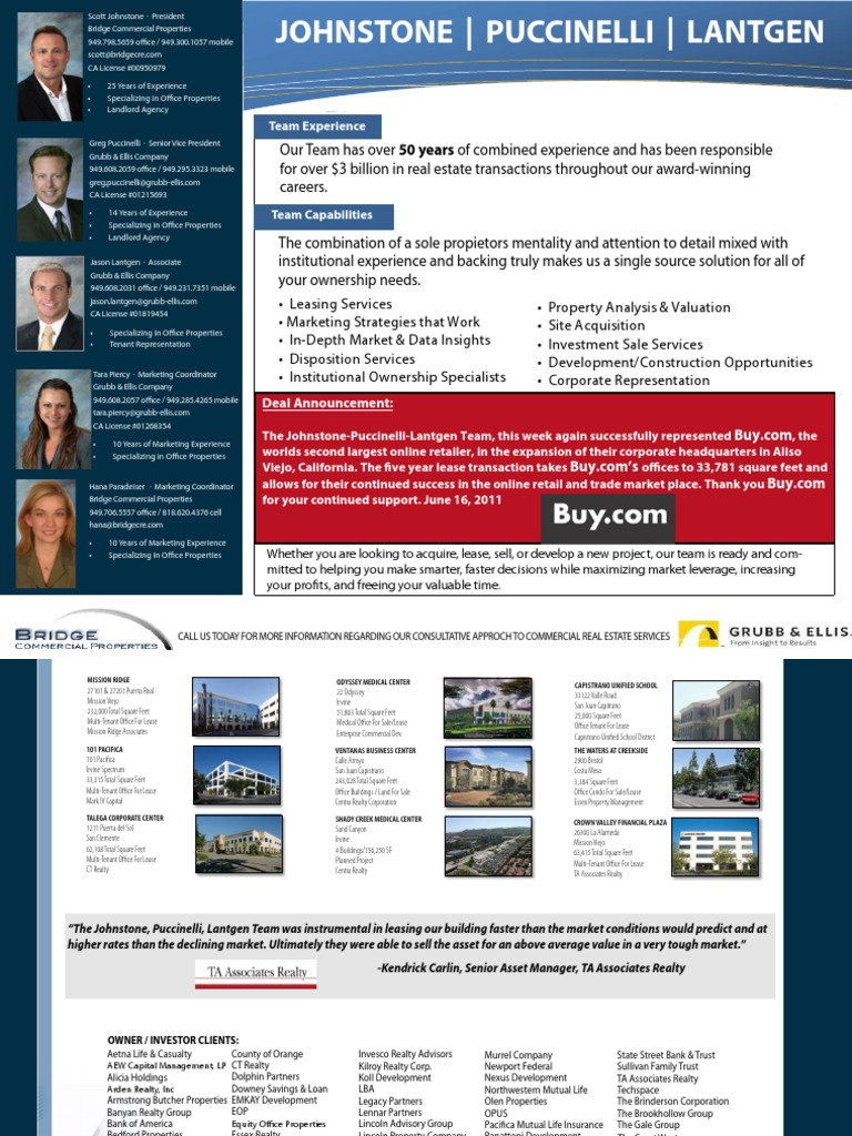 Team Brochure L Buy | Real Property | Lease