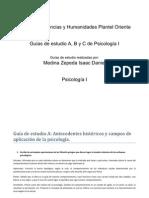 Guía de estudio A, B y C. Psicología I.