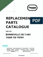 Triumph Bonneville 750 T140V Parts Manual 1973