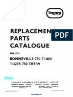 Triumph Bonneville 750 T140V Parts Manual 1973
