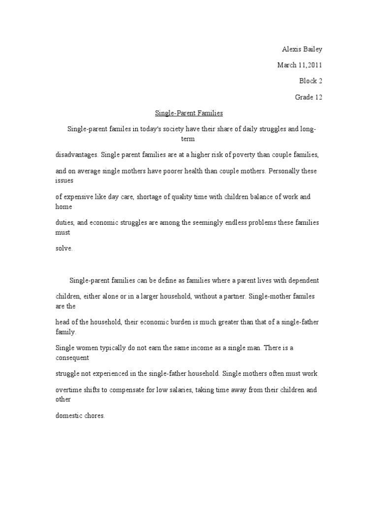 Persuasive essay about single parent families