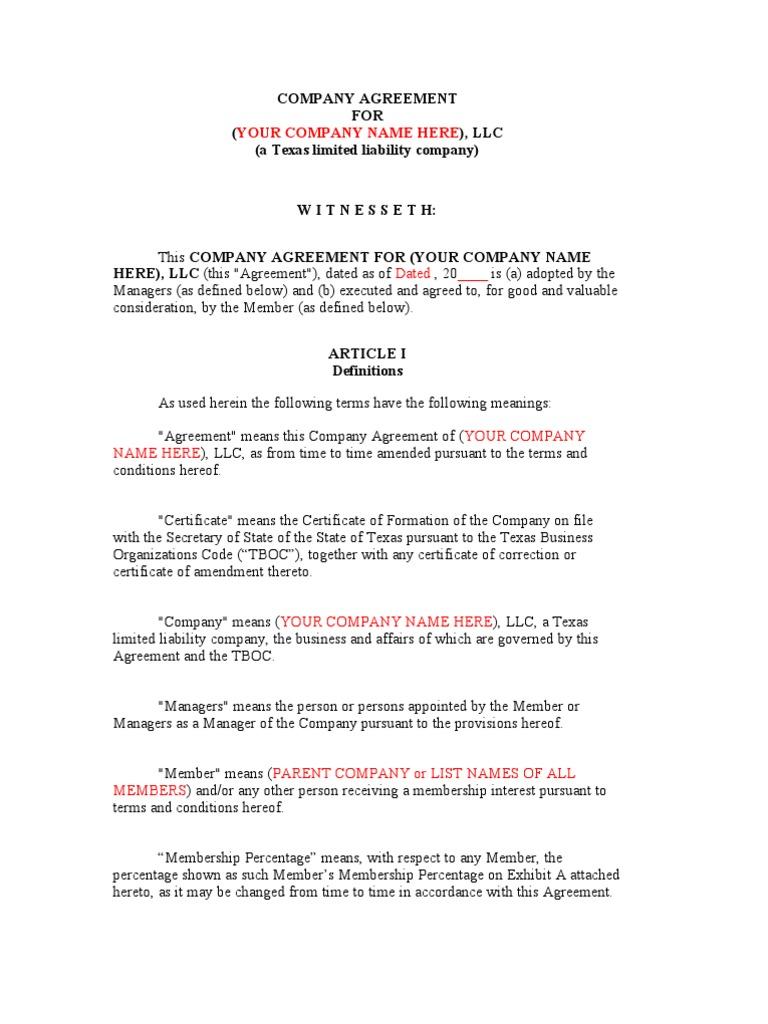 company agreement for texas llc   limited liability company