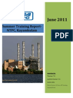 NTPC Kayamkulam Training Report