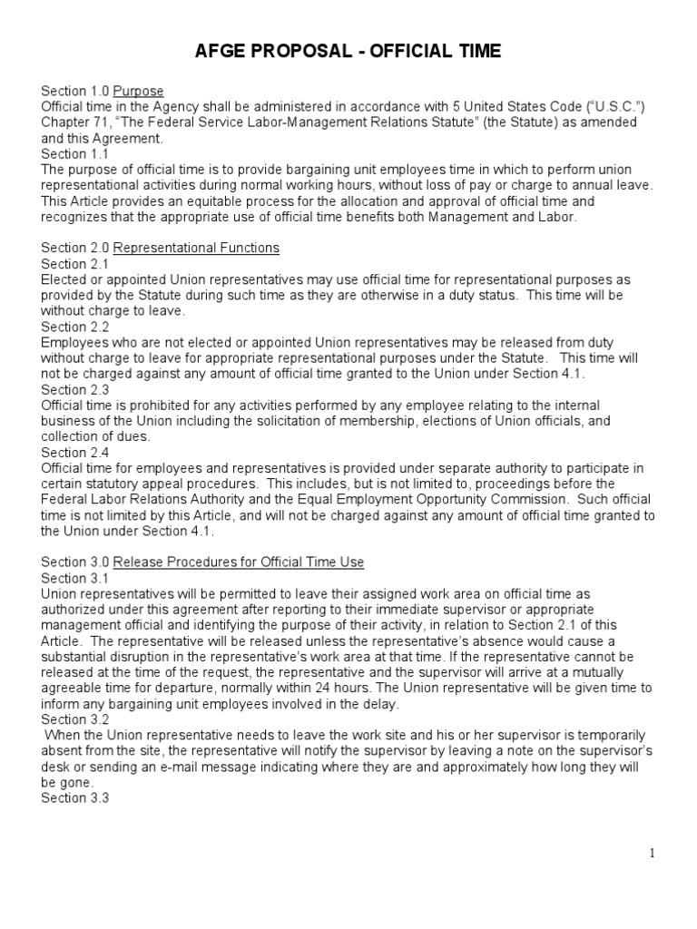 AFGE Proposal - Official Time   Unfair Labor Practice