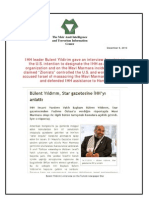 IHH Leader Bulent Yildirim Gave an Interview Focusing on the U.S. Intention to Designate the IHH as a Terrorist Organization and on the Mavi Marmara Incident