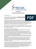 La FSGL répond à Nicolas Sarkozy - Communiqué de presse