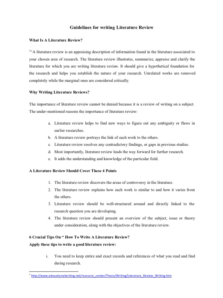 How To Write Literature Review  PDF