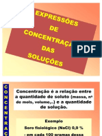 Concentracoes Das Solucoes