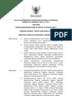 Peraturan Menteri Kesehatan RI Nomor 755/Menkes/Per/IV/2011 tentang Penyelenggaraan Komite Medik di Rumah Sakit