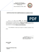 Certification for PASSING the Comprehensive Examination