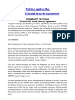 Petition Letter Against NPS-SSS Agreement