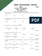 Wbjee 2011 Mathematics Pathfinder