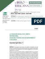 Egido Gálvez, Inmaculada (1999) - La educación inicial en el ámbito internacional; situación y perspectivas en Iberoamérica y en Europa