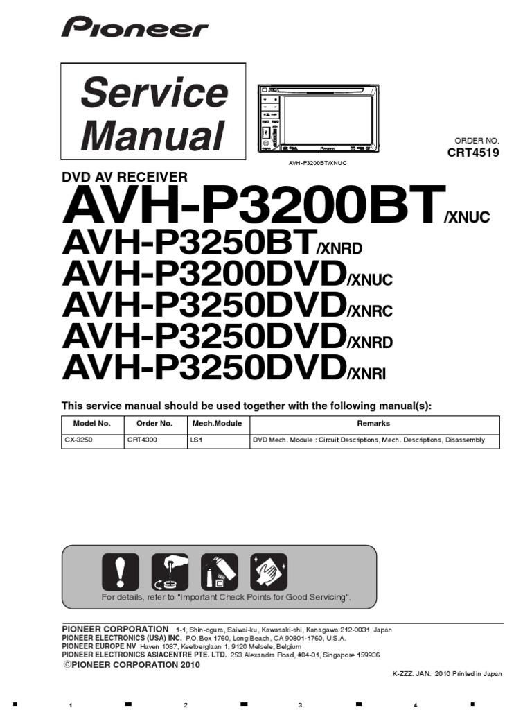 Service-man Pioneer Avh-p3200bt p3250bt | Laser | Mp3