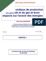 Pics mondiaux production pétrole et gaz - Centre Analyse Strategique 28-10-06