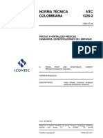 NTC 1226-2 Zanahoria Especificaciones Del Empaque