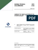 NTC 5122 Determinacion Del Contenido de Fibra Cruda. Metodo Con Filtrado Intermedio
