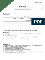 Série d_exercices N° 10 - Sciences physiques Etats physiques de la matière - Concentrations massique - Solubilité et molaire - 1ère AS  (2010-2011) Mr Adam Bouali