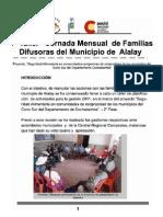 1° Taller - Jornada Mensual  de Familias Difusoras del Municipio de  Alalay