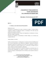 Conclusiones 1º Encuentro de Trabajadores del Teatro Independiente