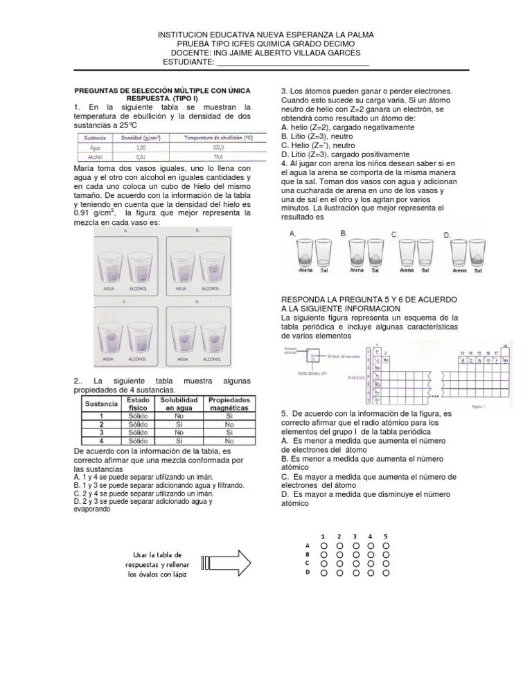 Prueba tipo icfes quimica grado 10 ienelap urtaz Image collections