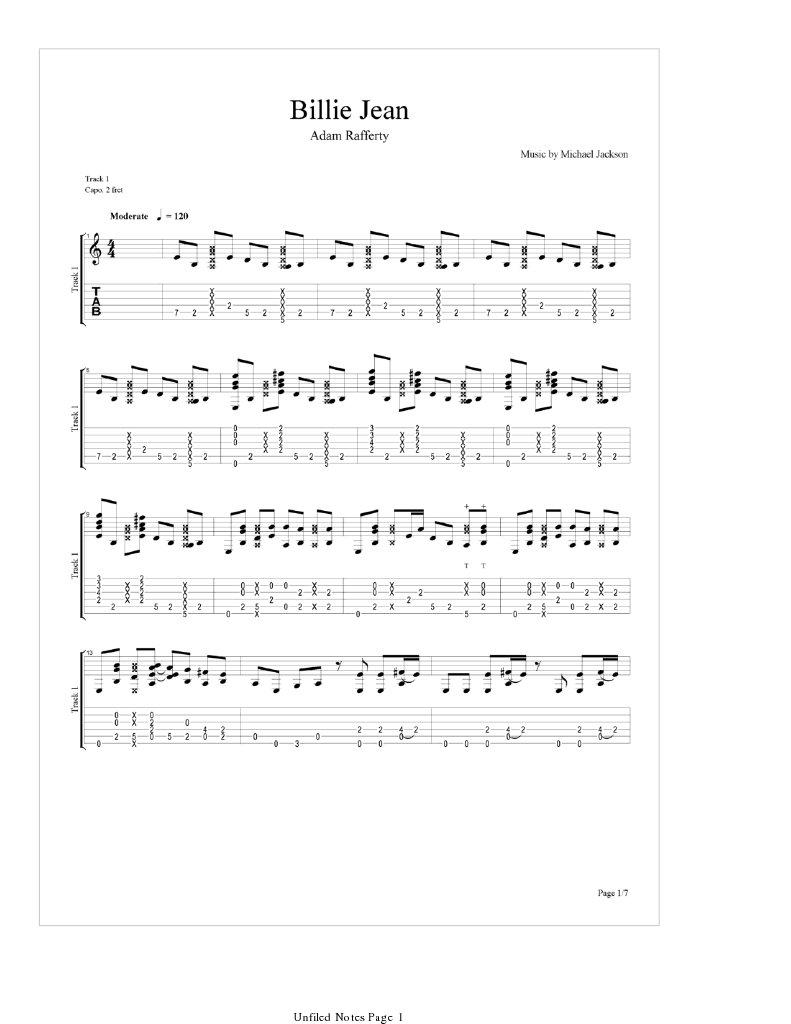 Billie Jean(Sungha Jung) guitar tabs