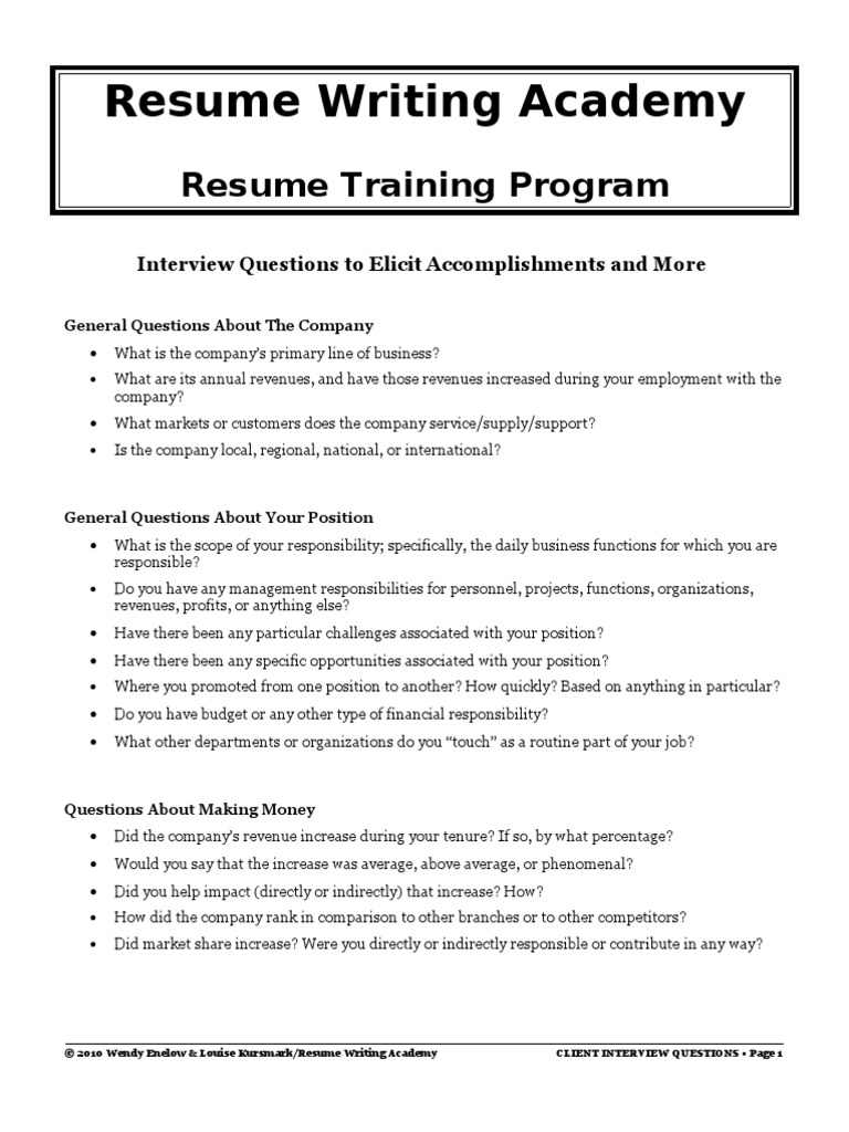 resume writing academy client interview questions revenue r sum - Resume Writing Questions
