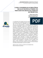 Como considerar os princípios do Lean Manufacturing no Processo de desenvolvimento de Produtos