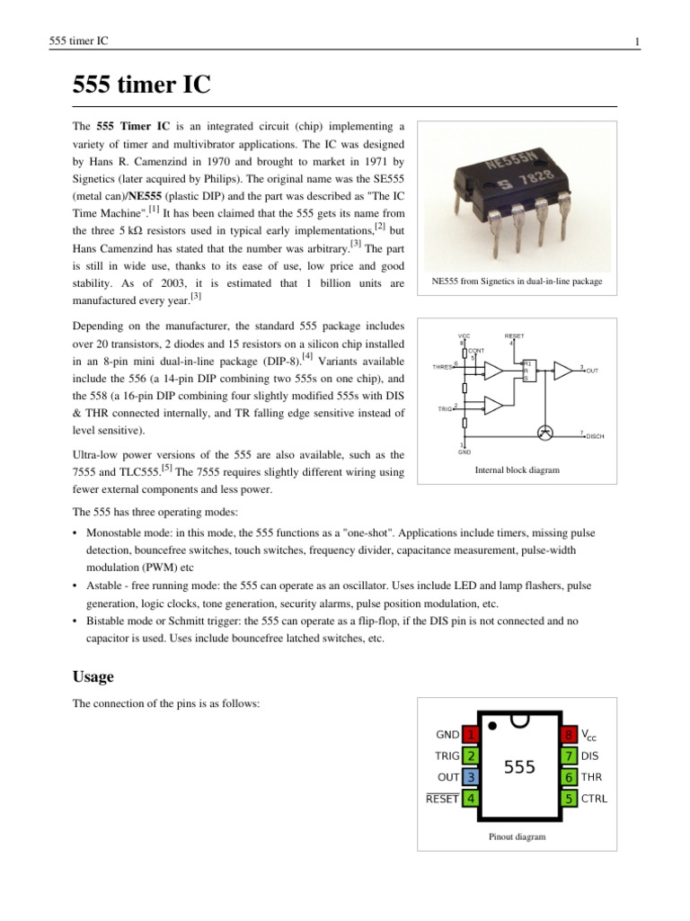 48874652 555 Timer Ic Electronic Circuits Electrical Components Pdf