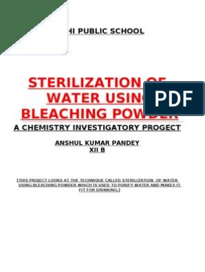 Steri Lization Of Water Using Bleaching Powder: Delhi Public School