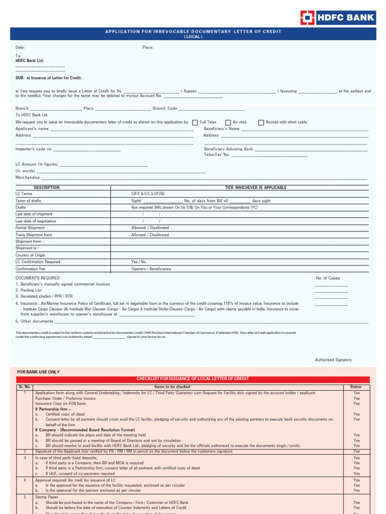 Annexure 4 Local Lc Application Form Guarantee Indemnity