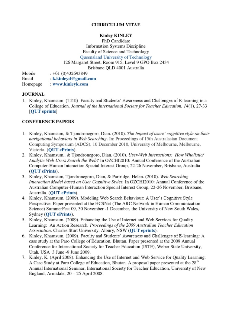 Cv Brief v11 | International Student | Educational Technology