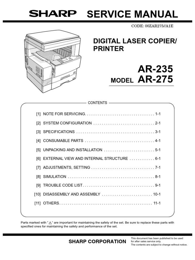WRG-3991] Sharp Ar M350n Ar M350u Ar M450n Ar M450u Laser