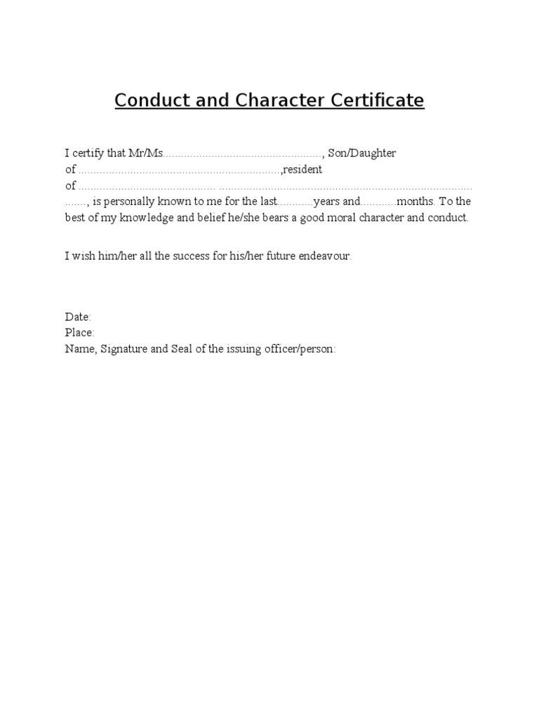 Conduct and character certificate yadclub Choice Image