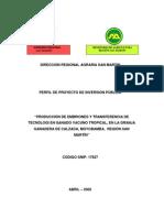 Direccion Regional Agraria San Martin Perfil de Proyecto de ...