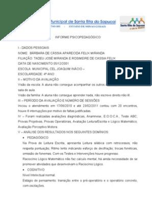 Informe Psicopedagógico Ciências Comportamentais