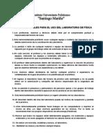 NORMAS GENERALES PARA EL USO DEL LABORATORIO DE FÍSICA