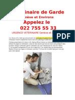 Veterinaire de Garde Geneve 022 755 55 33