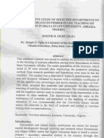 Comparative Study of Selected Department on Problems Encountered in the Teaching of Nutrition in Delta State University Abraka Nigeria by Joseph O Ogbe