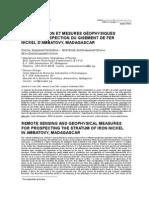 Teledetection Et Mesures Geophysiques Pour La Prospect Ion Du Gisement de Fer Nickel Dambatovy car